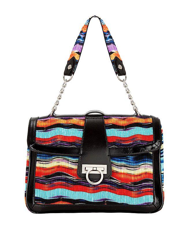 F-HG050.  Женская сумка FELICITA из гофрированного текстиля с фантазийным рисунком.
