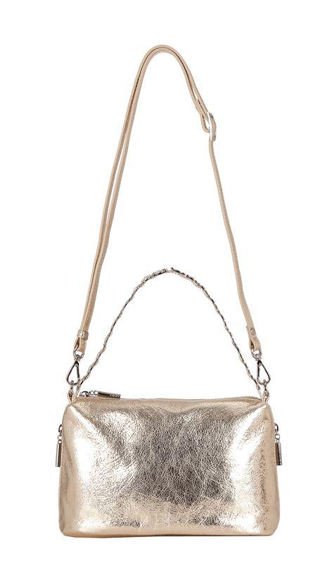 Женская сумка Palio выполнена из натуральной кожи золотого цвета.