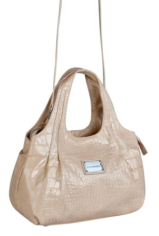 Женская сумка Eleganzza из натуральной лаковой кожи бежевого цвета с...