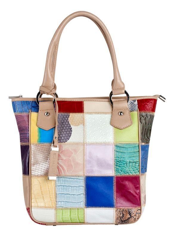 Женская сумка Eleganzza из натуральной кожи бежевого цвета.