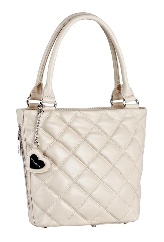 Женская сумка ELEGANZZA выполнена из натуральной кожи бежевого цвета.