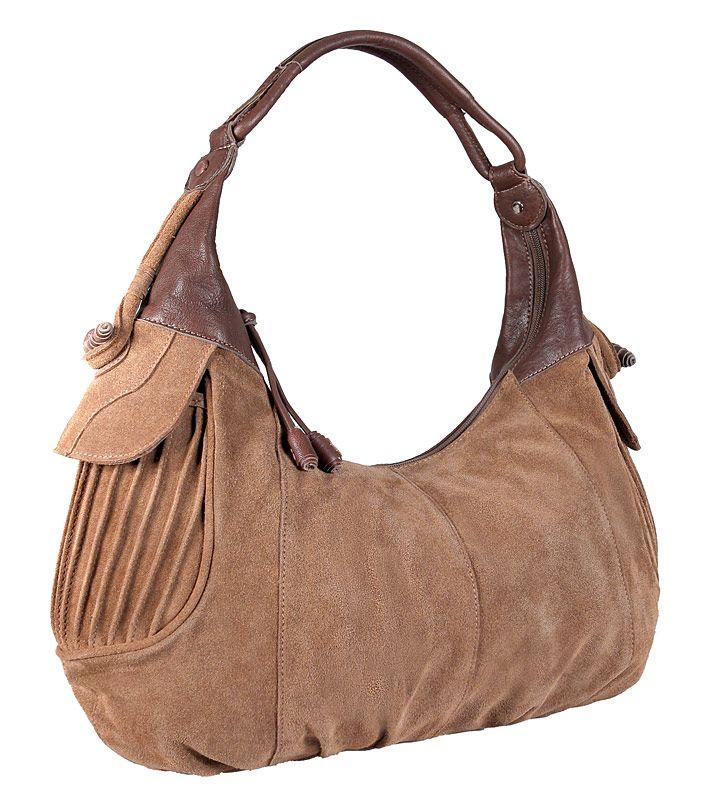 Женская сумка PALIO из натуральной замши светло-коричневого (песочного...