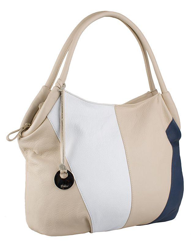 Кожаная женская сумка Palio, выполненная из натуральной кожи бежевого цвета с двумя.