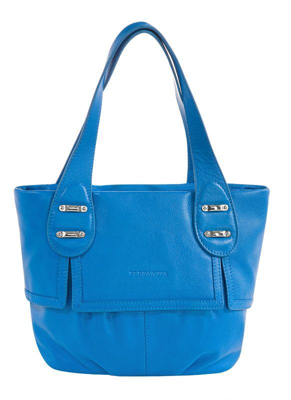 ...сумка ELEGANZZA выполнена из натуральной матовой кожи голубого цвета.