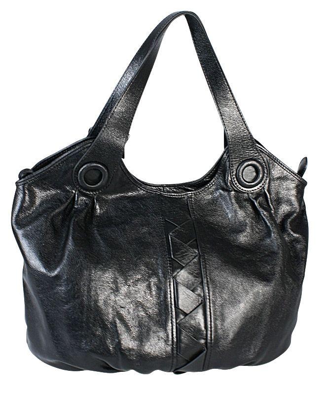 Женская сумка Palio выполнена из натуральной глянцевой кожи черного...