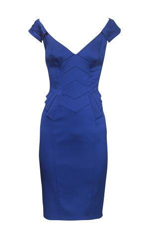 Синее коктейльное платье построение