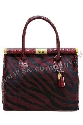 Яркая сумочка Giglio Fiorentino 0001-116 из кожи с мехом пони темно-красного цвета.