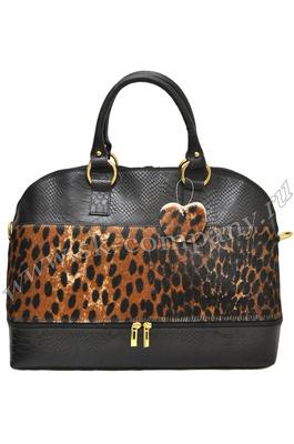 Вместительная сумка Giglio Fiorentino 0114-19 из кожи с мехом пони чёрного цвета.
