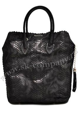 Чёрная женская сумка Piton с тиснением под кожу питона - kupiremen.ru - ремни, сумки, кошельки, галстуки.