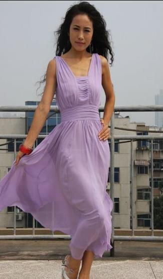 Летнее сиреневое платье в пол. sir-k2