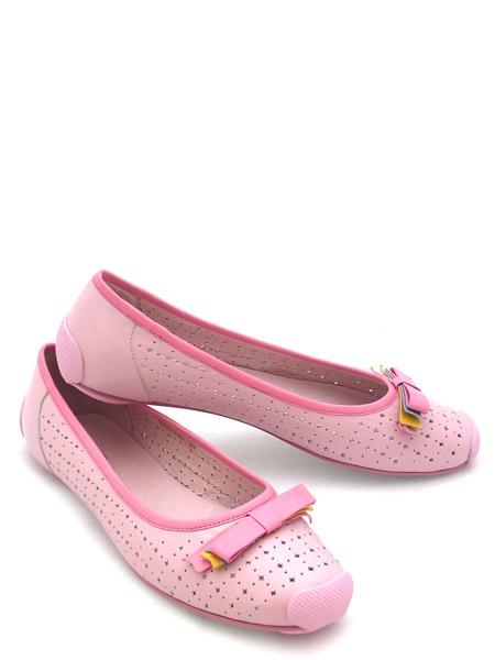 ...кожи розового цвета, с цветным бантиком на мысе, Материал - верх: н...