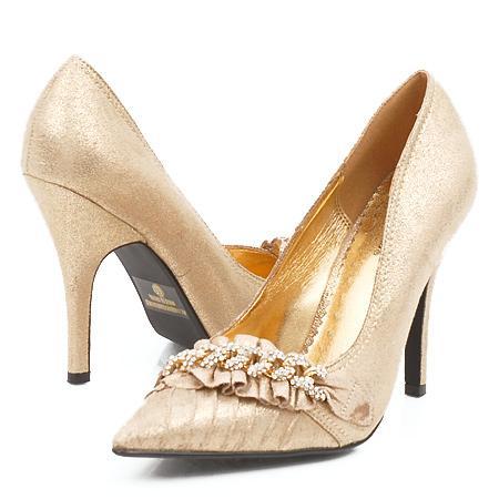 Черные туфли на шпильке со стразами | Золотые